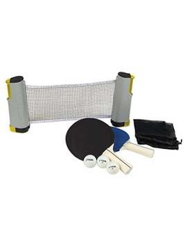 Stiga Retractable Take Anywhere Table Tennis Set Includes Net, Two Paddles, Three Balls, And Storage Bag by Stiga