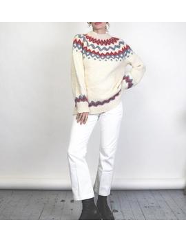 Vintage Handknit Nordic Sweater // Scandinavian Ski // Chunky Knit // Icelandic by Etsy