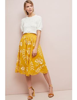 Vineland Embroidered Midi Skirt by Maeve
