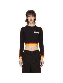 Black Cropped Stripe Sweater by Opening Ceremony