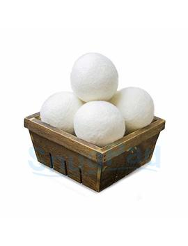 Snug Pad 10171 Wool Dryer Balls 4 Pack, 3 Inch Reusable Natural Fabric Softener For Reduces Clothing Wrinkles And Save Drying Time, White by Snug Pad