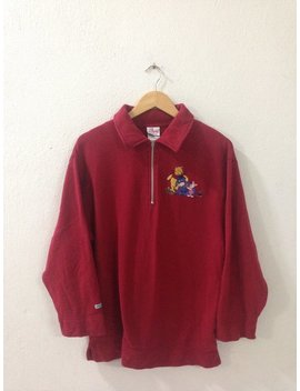 On Sale!!! Vintage Sweatshirt/Vintage Disney/Vintage Cartoon Sweatshirt/Pooh Sweatshirt/Red Colour/Medium Size by Etsy