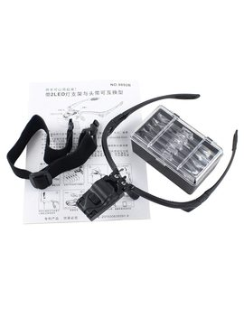 Magnifier Headband Magnifying Glass Eye Repair Magnifier 2 Led Light 1.0/1.5/2.0/2.5/3.5 X 5 Pc Glasses Loupe Optical Lens by Inpelanyu