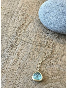 Aquamarine Necklace Aquamarine Jewelry March Birthstone Beach Wedding Bridesmaid Gifts Aquamarine Glass Gemstone Necklace Aqua 14k Gf by Etsy
