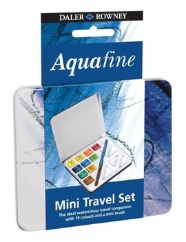 Daler Rowney Mini Travel Set Of 10 Aquafine Water Colour Paints In A Tin Box by Daler Rowney