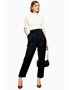 Pinstripe D Ring Trousers by Topshop