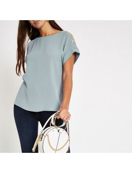 Blue Button Detail Loose Fit T Shirt by River Island
