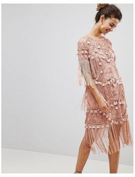 Women's Pink Loose T Shirt Dress With Embroidery And Tassels Mini Dress by Asos