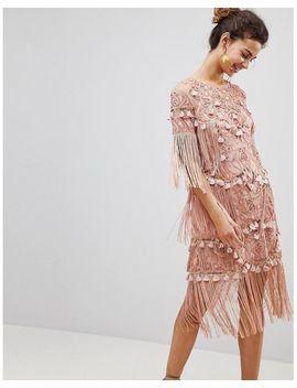 Crochet Insert Dress With Tassels by Asos