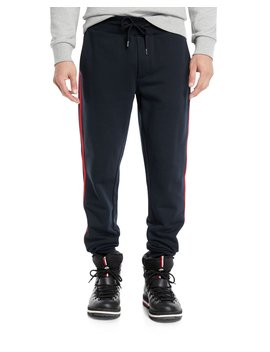Men's Drawstring Side Stripe Sweatpants by Moncler