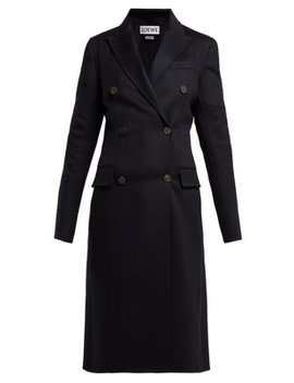 Double Breasted Wool Blend Coat by Loewe