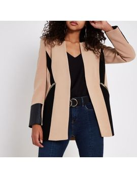 Beige Color Block Blazer by River Island