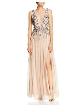 Beaded Mesh Plunging Gown by Aidan By Aidan Mattox