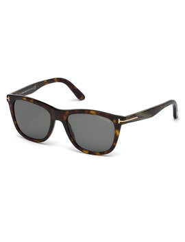 Andrew Square Shiny Acetate Sunglasses, Dark Havana by Tom Ford