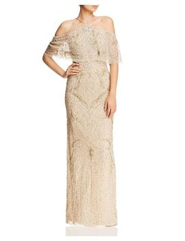 Cold Shoulder Beaded Gown   100% Exclusive by Aidan Mattox