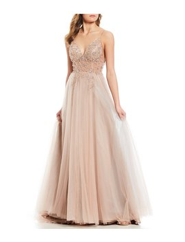 Social Floral Beaded Gown by Gb