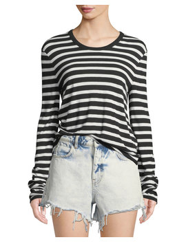 Wide Striped Slub Jersey Long Sleeve Tee by T By Alexander Wang
