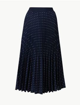 Polka Dot Pleated Midi Skirt by Standard Tracked: