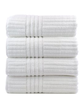Luxury Hotel & Spa Towel 100 Percents Genuine Turkish Cotton Bath Towels   White   Striped    Set Of 4 by Bare Cotton