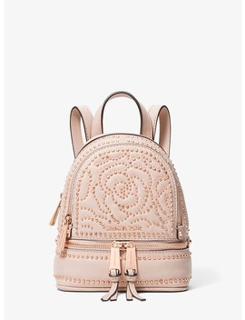 Rhea Mini Rose Studded Leather Backpack by Michael Michael Kors