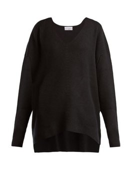 V Neck Ribbed Cashmere Sweater by Raey