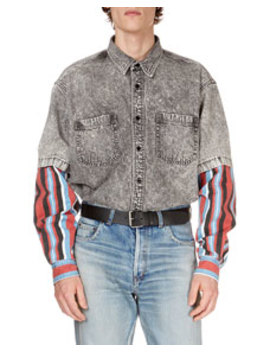 Men's Gray Washed Denim Shirt With Striped Trim by Balenciaga