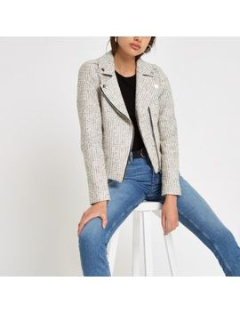 Cream Check Boucle Biker Jacket by River Island