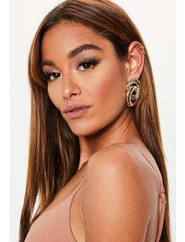 Gold Look Twisted Detail Earrings by Missguided