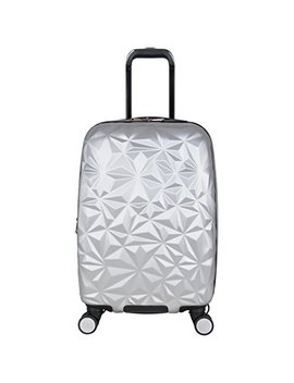 "Aimee Kestenberg Women's Geo Chic 20"" Hardside Expandable 8 Wheel Spinner Carry On Luggage, Metallic Light Silver by Aimee Kestenberg"