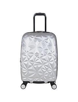 "Aimee Kestenberg Women's Geo Chic 20"" Hardside Expandable 8 Wheel Spinner Carry On Luggage, Metallic Light Silver by Aimee Kestenberg"