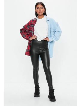 Tall Black Matte Vinyl Leggings by Missguided
