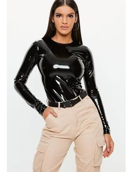 Black Vinyl Crew Neck Bodysuit by Missguided
