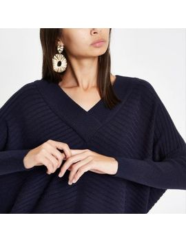 Navy Ribbed Knit V Neck Sweater by River Island