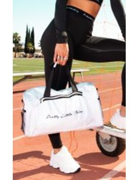 Prettylittlething White Logo Gym Bag by Prettylittlething