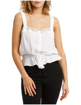 Broderie Trim Cami by Miss Shop