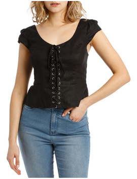 Linen Corset Top by Miss Shop