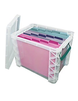 Super Stacker Storage Box, 19 Liters, Clear/Sea Breeze by Super Stacker