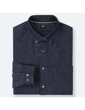 Men Denim Long Sleeve Shirt by Uniqlo
