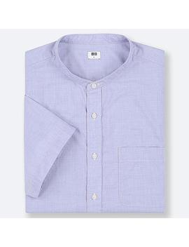 Men Extra Fine Cotton Stand Collar Short Sleeve Shirt (Online Exclusive) by Uniqlo
