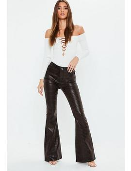Brown Snakeprint High Rise Flare Jeans by Missguided