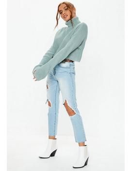 Tall Green Roll Neck Knitted Crop Jumper by Missguided
