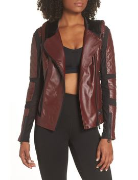 Voyage Hooded Leather & Mesh Moto Jacket by Blanc Noir