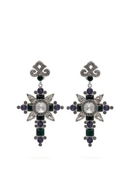 Cross Shaped Crystal Embellished Earrings by Dolce & Gabbana