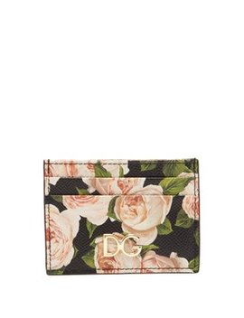 Rose Print Dauphine Leather Cardholder by Dolce & Gabbana