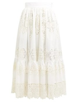 Embroidered Guipure Lace Cotton Blend Maxi Skirt by Dolce & Gabbana