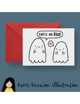 You're My Boo Card, Ghost Valentines Card   Hand Illustrated Card, Cute Ghosts, Birthday Card, Funny Card, Cute Card, Romantic Card, Love by Etsy