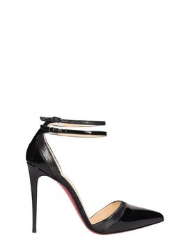 Christian Louboutin Black Patent Uptown Double Sandals by Christian Louboutin