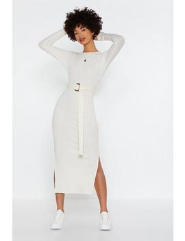 Ribbed And Ready Belted Midi Dress by Nasty Gal