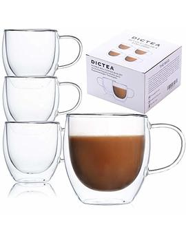 Glass Coffee Or Tea Drinking Glasses Set Of 4 Mugs   8oz Double Wall Thermal Insulated Cups With Handle, Espresso Latte Cappuccino Stackable Glassware by Dictea