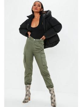 Tall Khaki Plain Cargo Trousers by Missguided